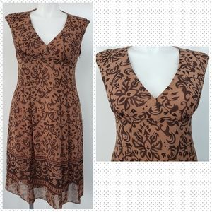 EVAN PICONE Sleeveless Brown & Beige Floral Dress